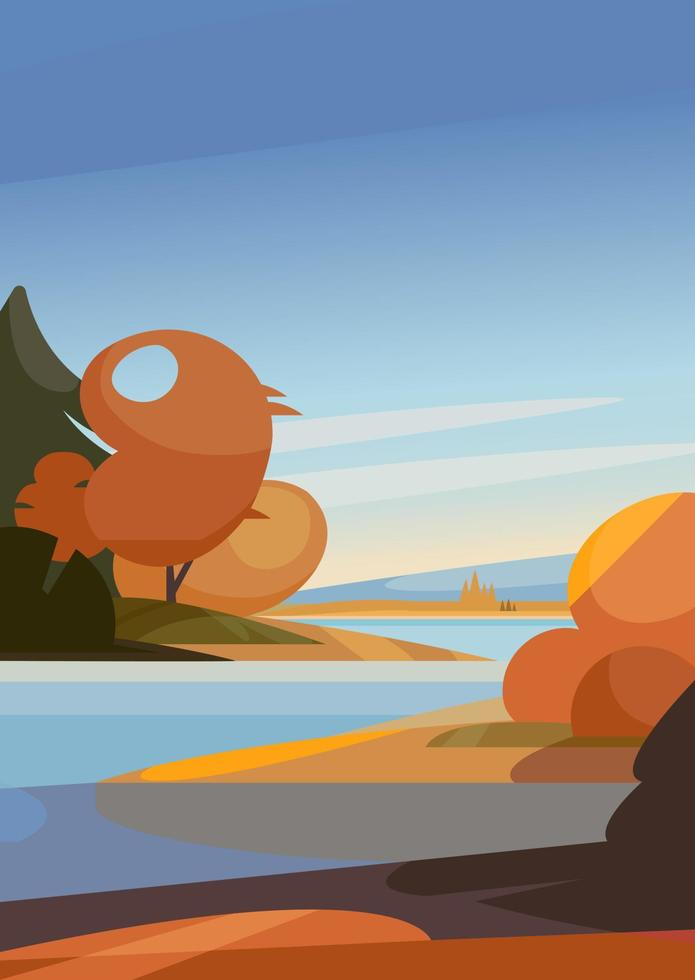 Herbstlandschaft mit Fluss. Naturlandschaft in vertikaler Ausrichtung. vektor