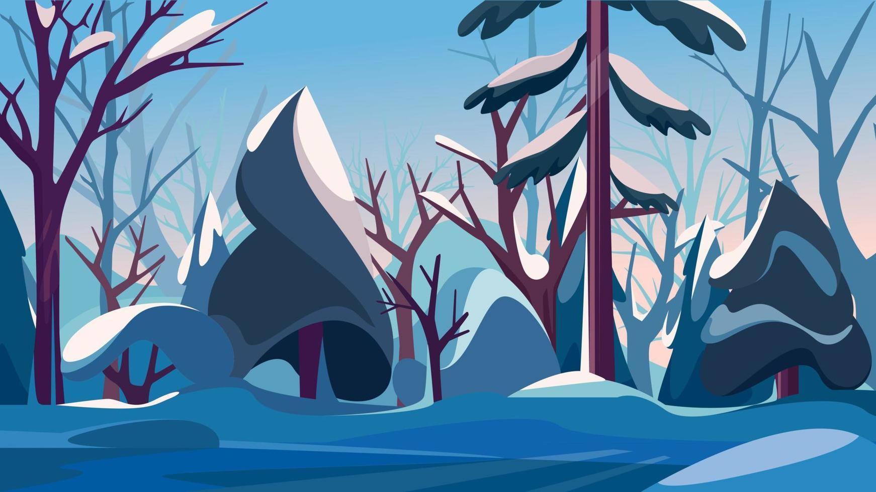 dichter Wald in der Wintersaison. vektor
