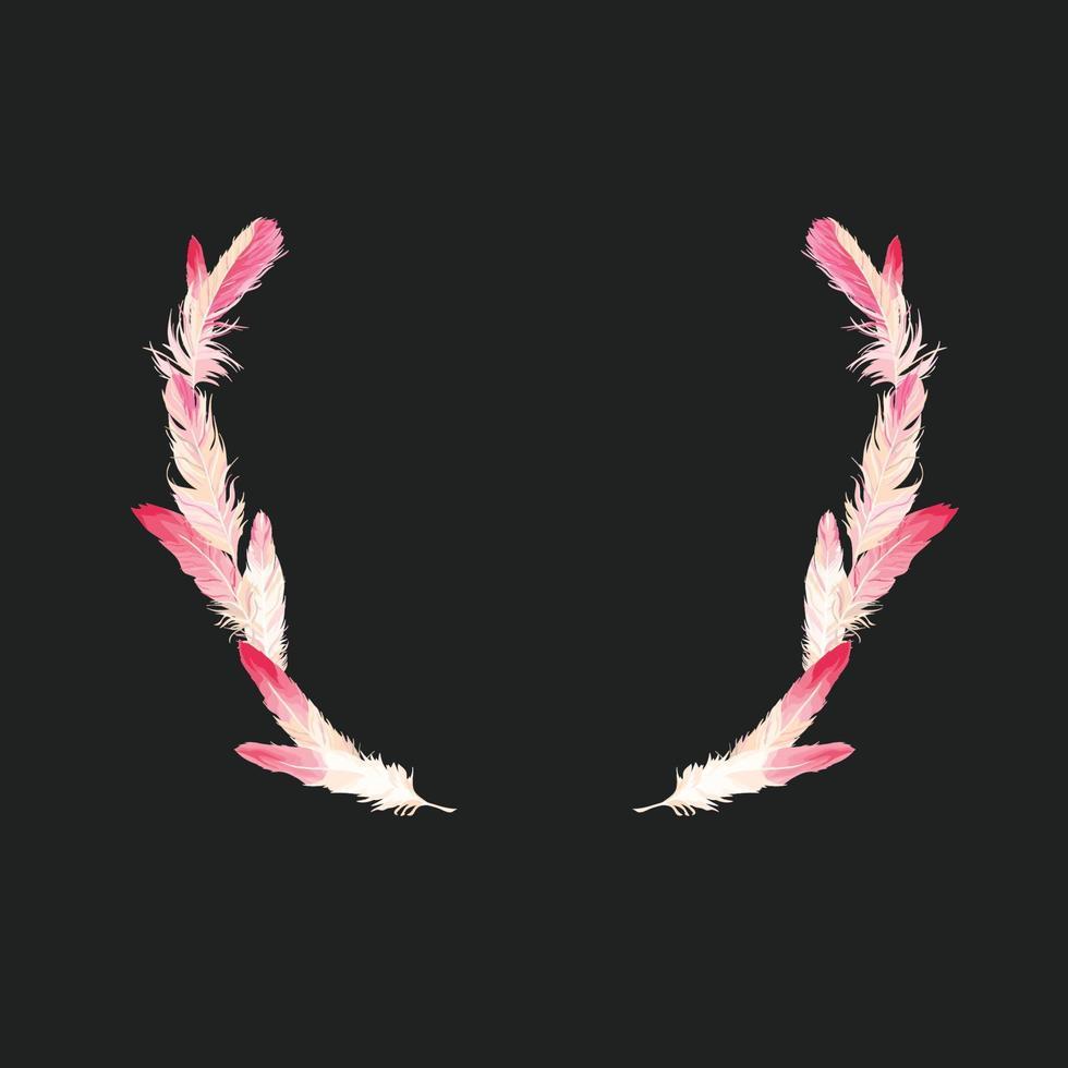 Vektor rosa Federn Sammlung, Flamingo Federn Set aus verschiedenen fallenden flauschigen gewirbelten Federn, isoliert auf weißem, transparentem Hintergrund. realistischer Stil, farbenfrohe 3D-Vektorillustration.