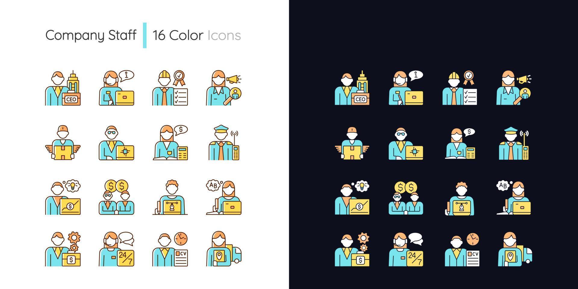 Firmenpersonal bezogenes helles und dunkles Thema RGB-Farbsymbole eingestellt vektor