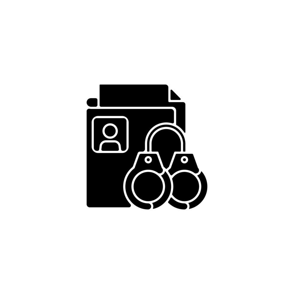 Versiegelung von Strafregistern schwarzes Glyphensymbol vektor