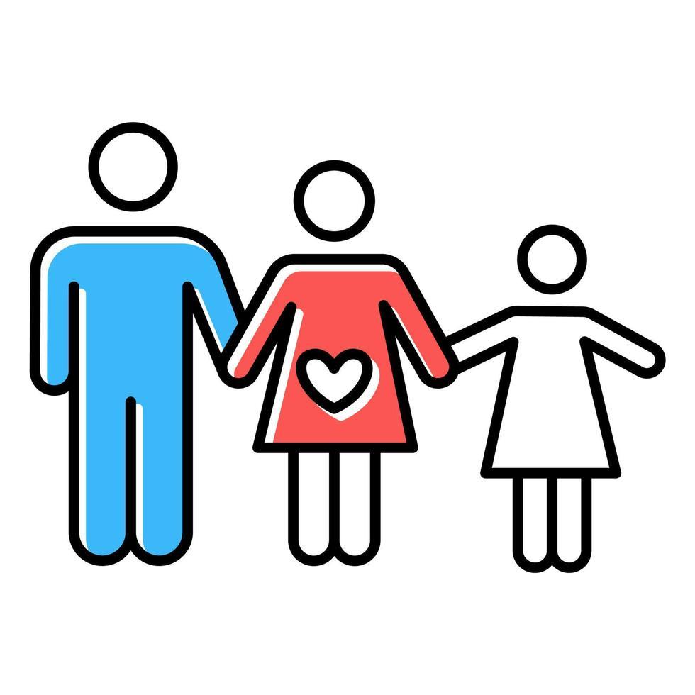 Farbsymbol für die Familienplanung vektor