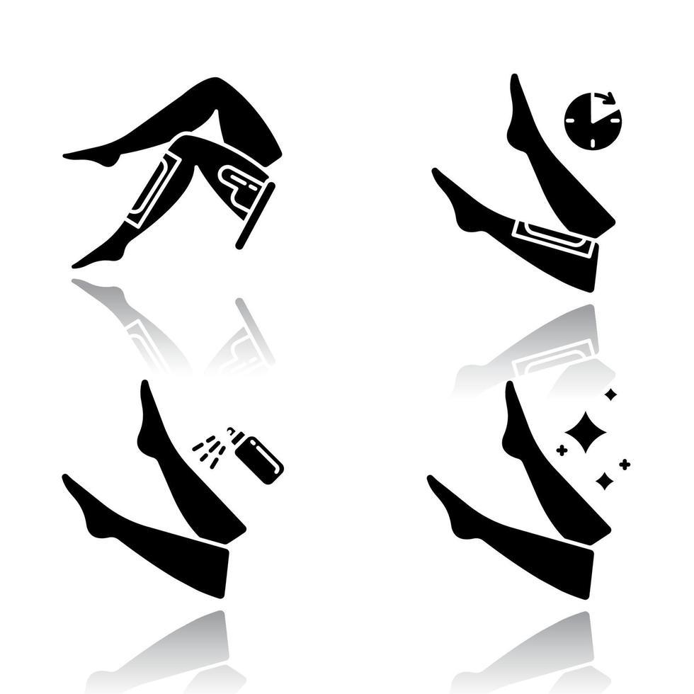 Bein wachsen Schlagschatten schwarze Glyphe Icons Set vektor