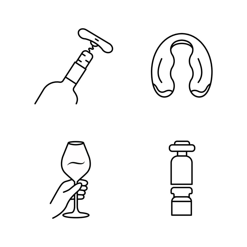 alkoholgetränke geschirr lineare ikonen eingestellt vektor