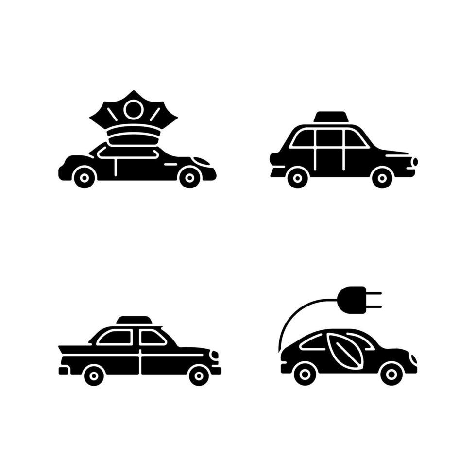 Taxibuchung schwarze Glyphensymbole auf weißem Raum vektor