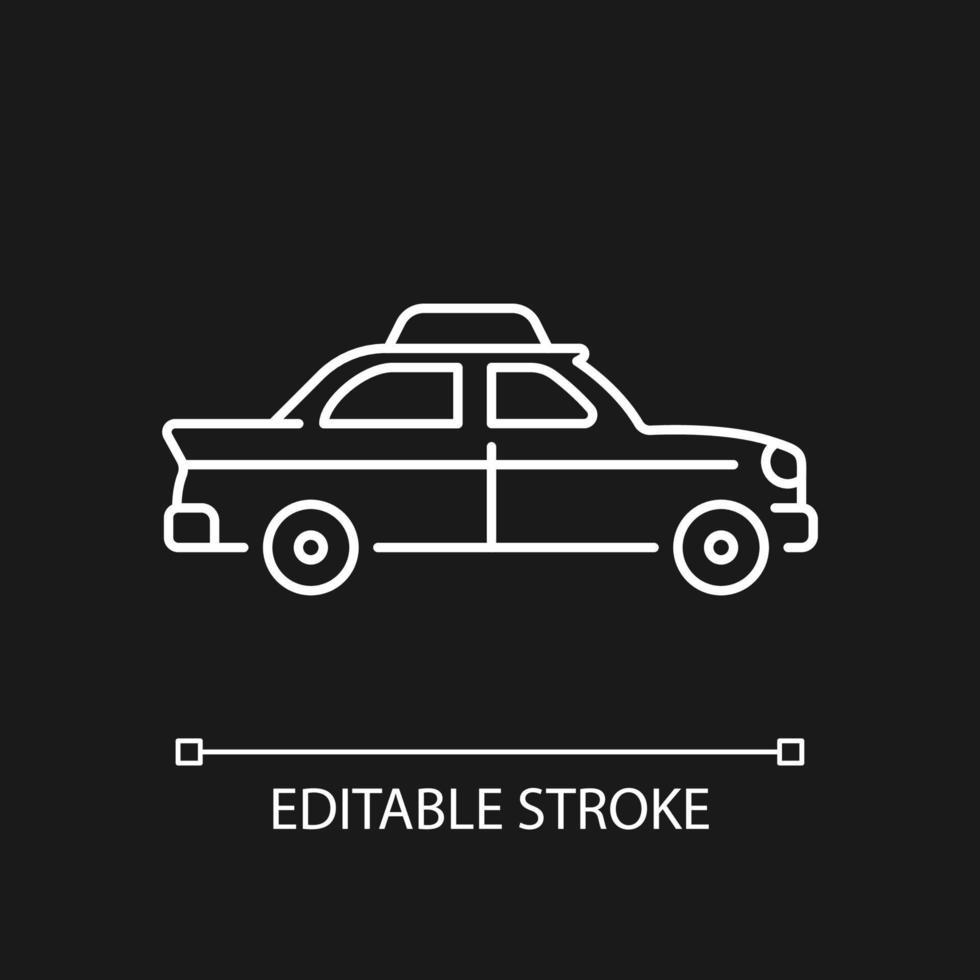 Retro-Taxi-Auto weißes lineares Symbol für dunkles Thema vektor