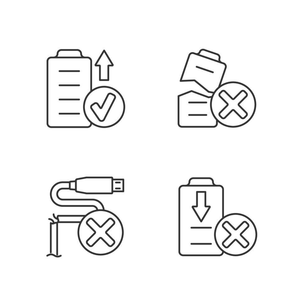 Drohnenleistung lineare manuelle Etikettensymbole eingestellt vektor