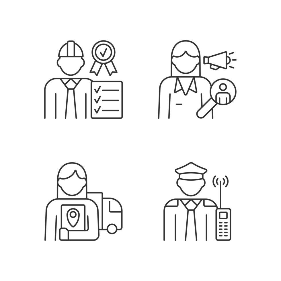 Mitarbeiter der Firma RGB lineare Symbole gesetzt vektor
