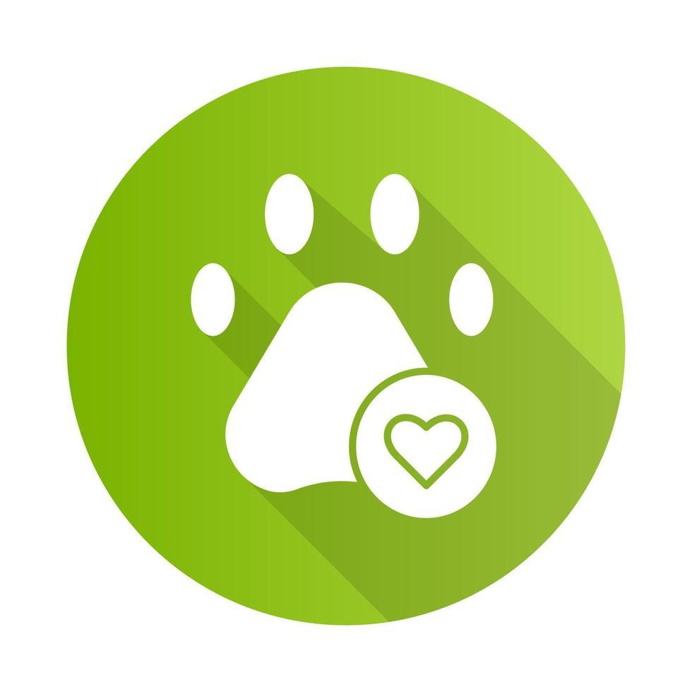 Haustiere erlaubt grünes flaches Design lange Schatten Glyphe Symbol vektor