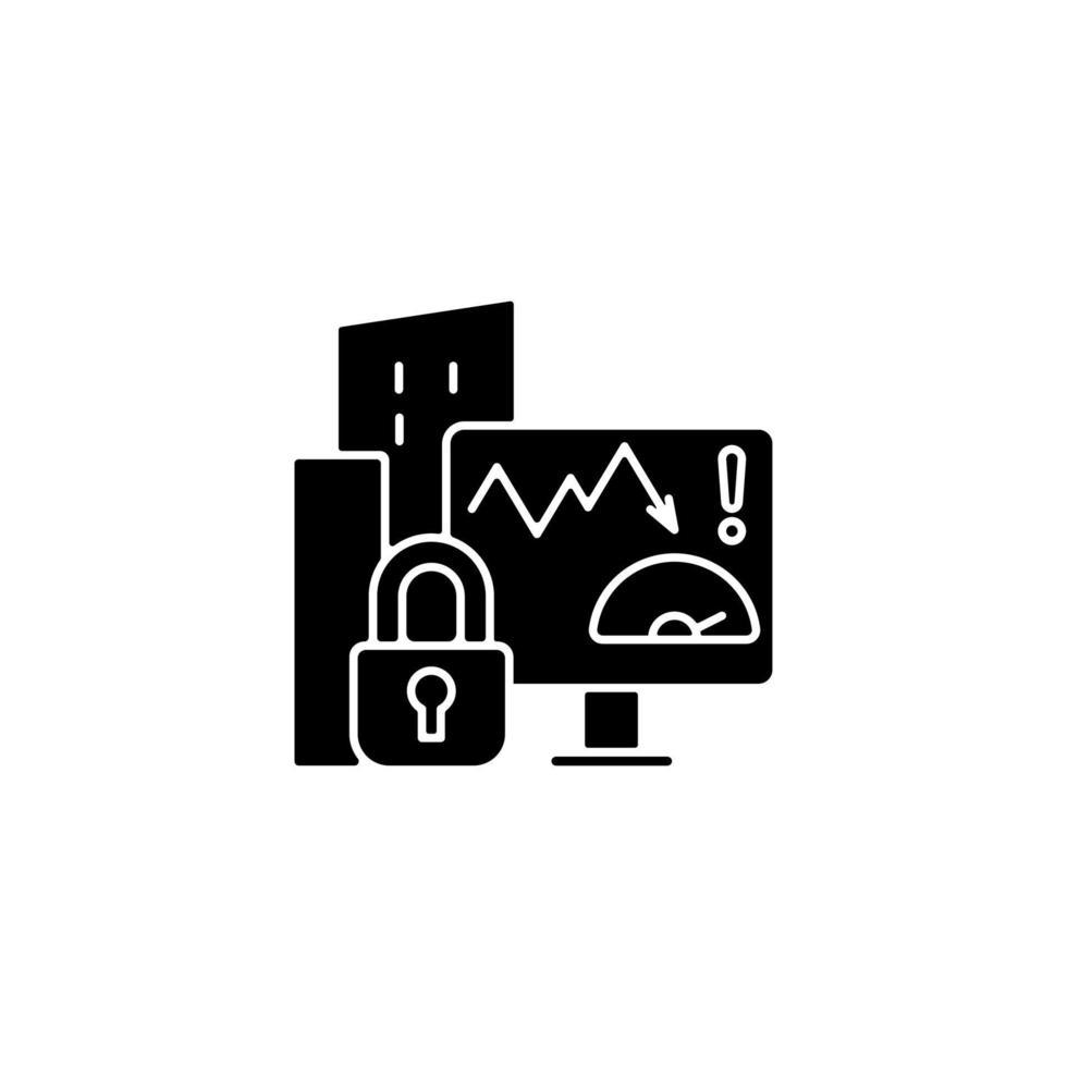 Unternehmensrisikobewertung Datenschutz schwarzes Glyphensymbol vektor