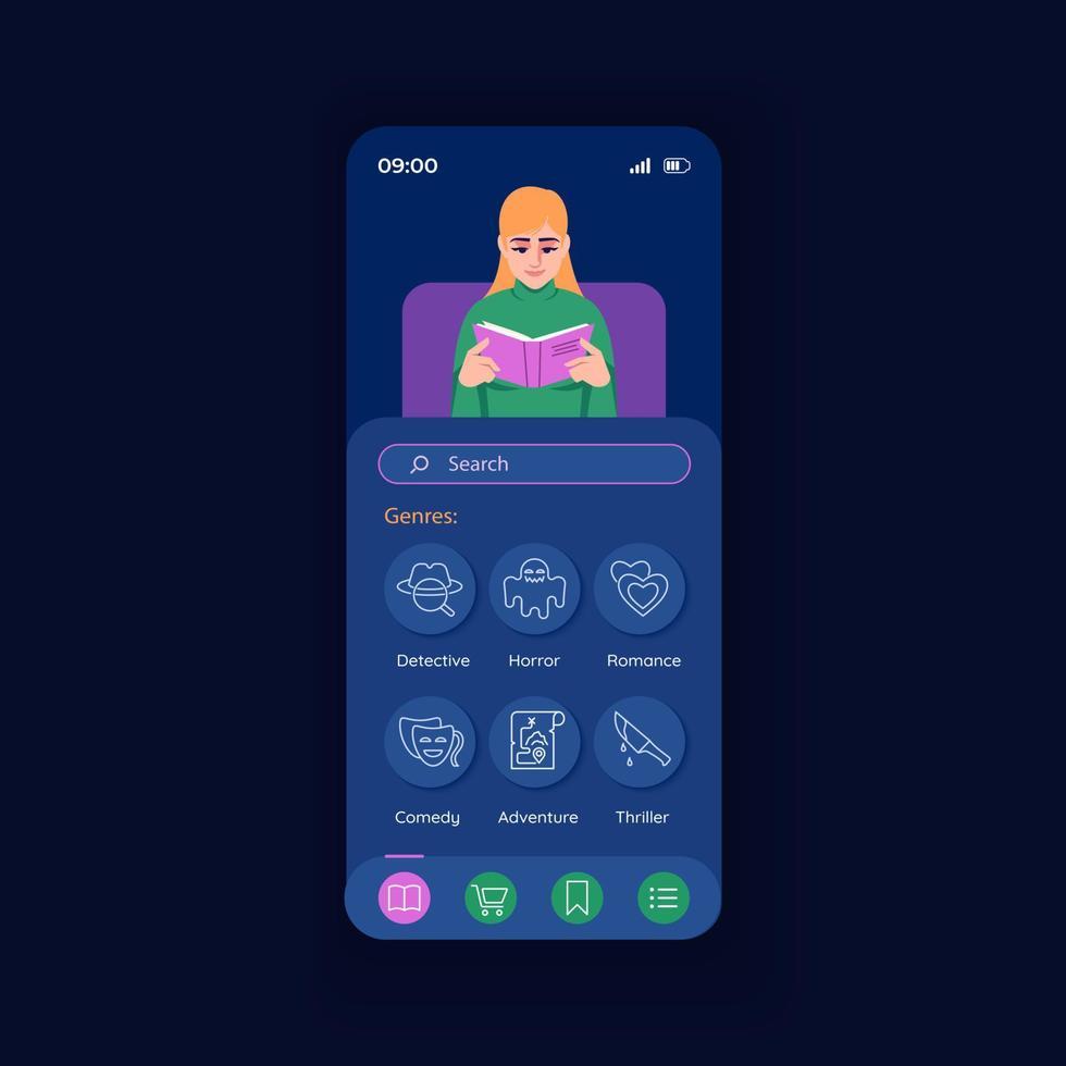 Anwendung zum Lesen der Vektorvorlage für die Nacht-Smartphone-Schnittstelle vektor