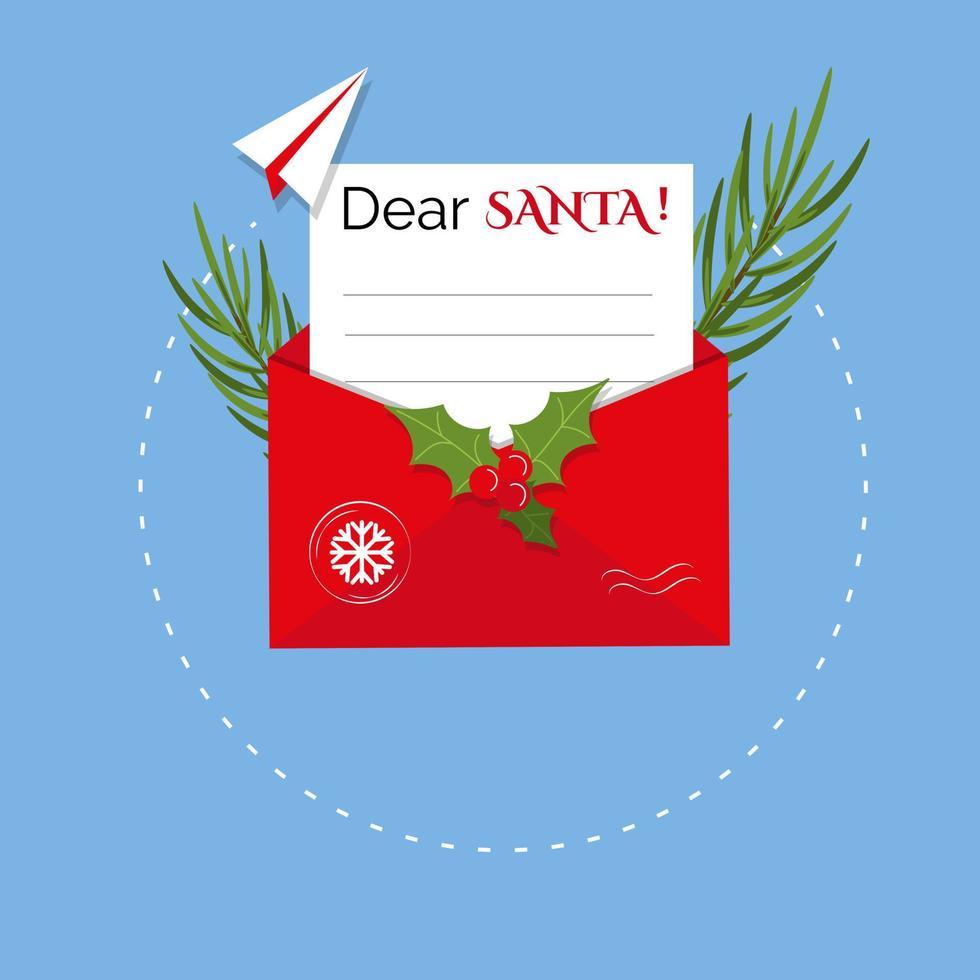 das Weihnachtskonzept eines Briefes an den Weihnachtsmann. Papierflieger und Briefumschlag. Vektor-Illustration vektor