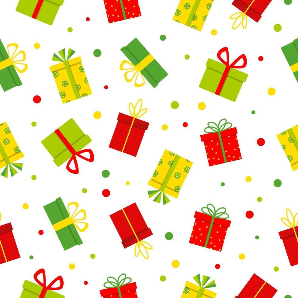 nahtloses Muster mit bunten Geschenkboxen auf weißem Hintergrund. Vektor-Illustration vektor