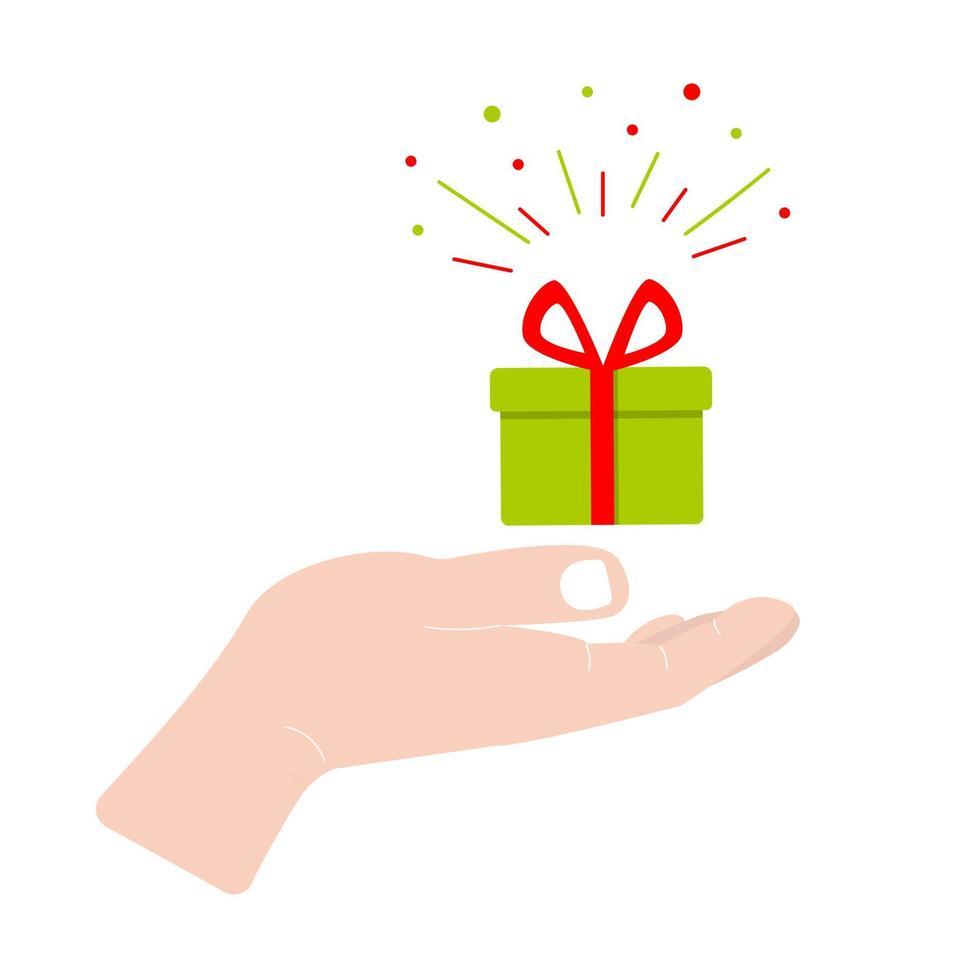 Hand hält Geschenkbox. Glückwunsch-Konzept. flache Symbol-Vektor-Illustration isoliert auf weißem Hintergrund vektor