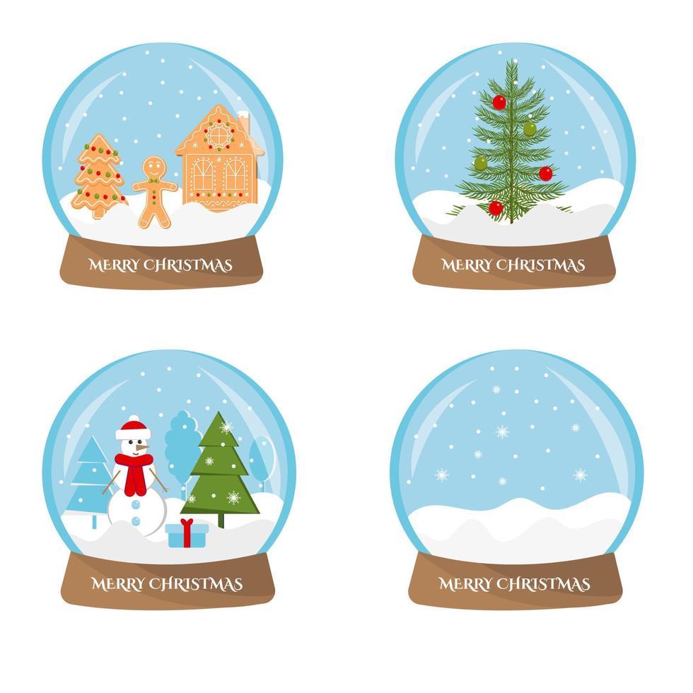 Satz Weihnachtszauberkristallschneeball, lokalisiert auf weißem Hintergrund. Vektor-Illustration vektor