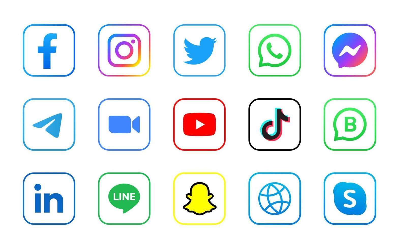 Set aus quadratischem Social-Media-Logo mit Linie vektor