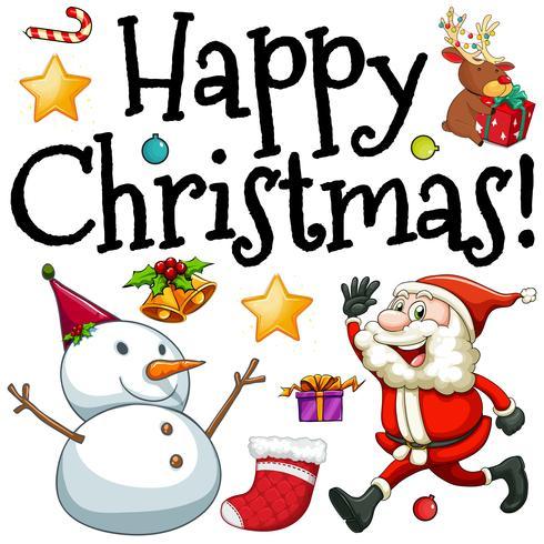 Glad jul med jultomte och snögubbe vektor
