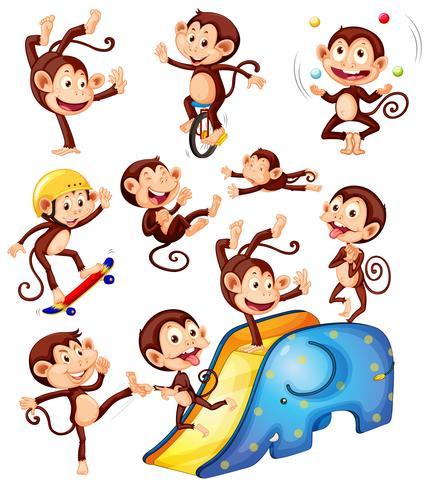 Eine Gruppe von Affenfiguren vektor