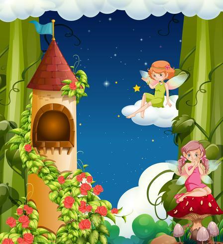 Ein magisches Feenland und ein Schloss vektor