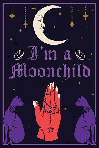 Violette Katzen und der Mond. Betende Hände, die einen Rosenkranz halten. Ich bin ein Moonchild-Text vektor