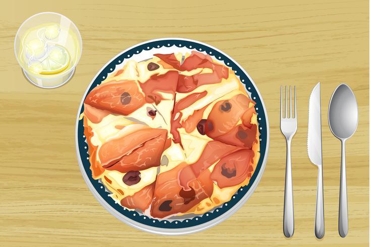 Pizza med skinka vektor