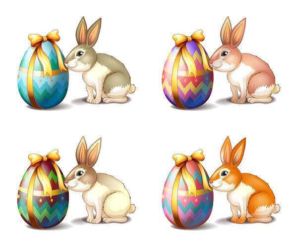 Vier Kaninchen in verschiedenen Farben vektor
