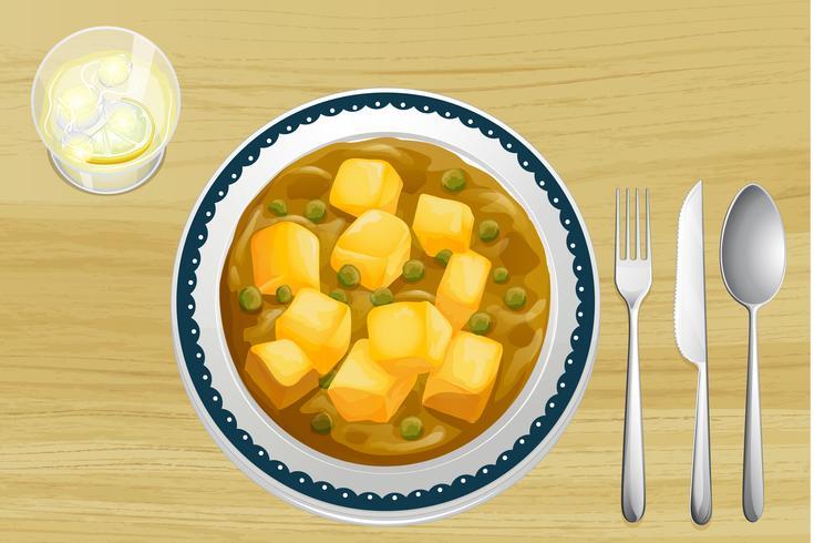 Indisk mat på ett träbord vektor