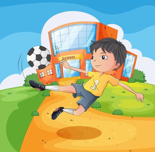 En fotbollsspelare framför skolbyggnaden vektor