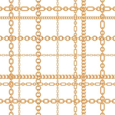 Guldkedjor sömlösa mönster. Vektor illustration