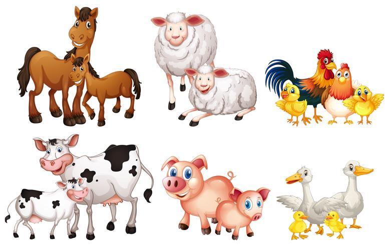 Set av lantbruksdjur vektor