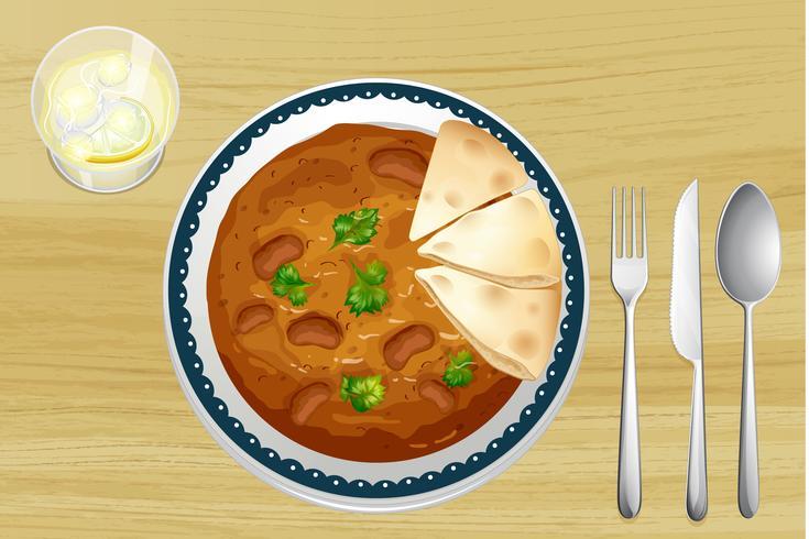 Indisk mat med bröd vektor