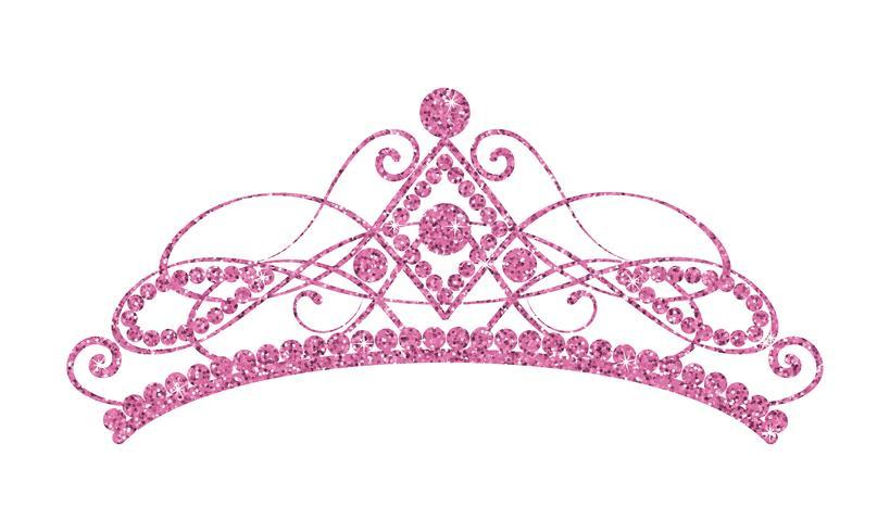 Glittrande Diadem. Rosa tiara isolerad på vit bakgrund. vektor