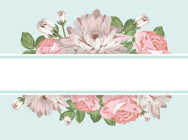 Blom kort mall med tom ram vektor