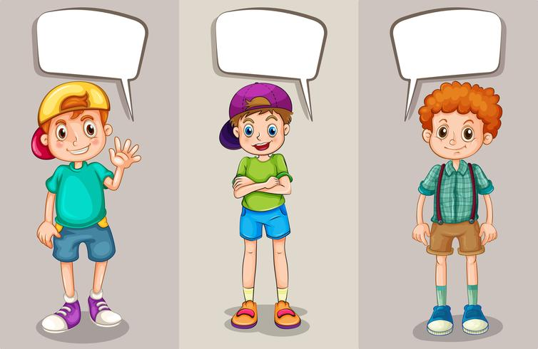 Talbubblor design med tre pojkar vektor