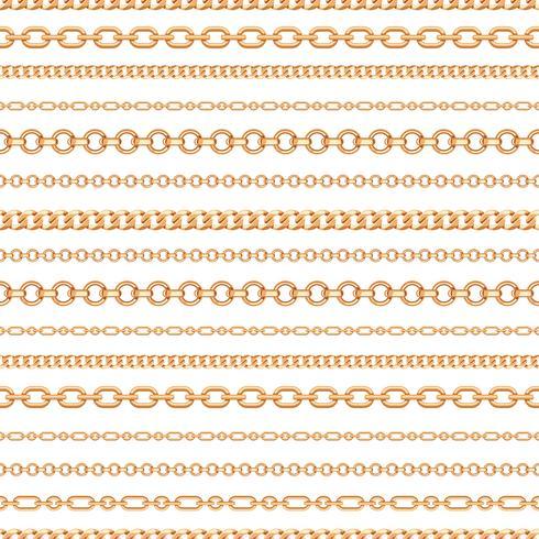 Seamless mönster av guldkedjelinjer på vit bakgrund. Vektor illustration