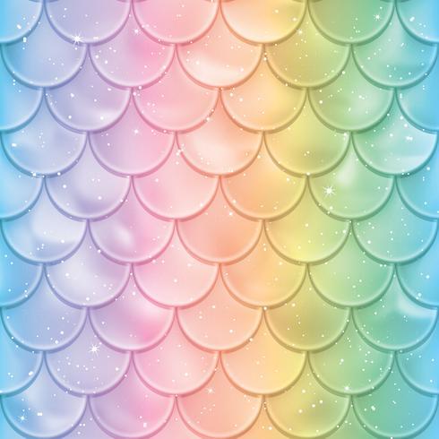 Fisk skalor sömlösa mönster. Mermaid svansstruktur i spektrumfärger. Vektor illustration