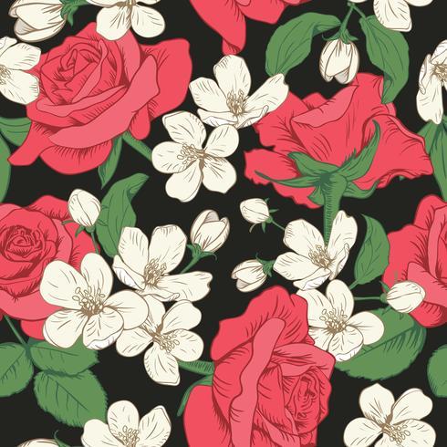 Sömlöst mönster med blommor. Vårblommig konsistens. Handdragen botanisk vektor illustration