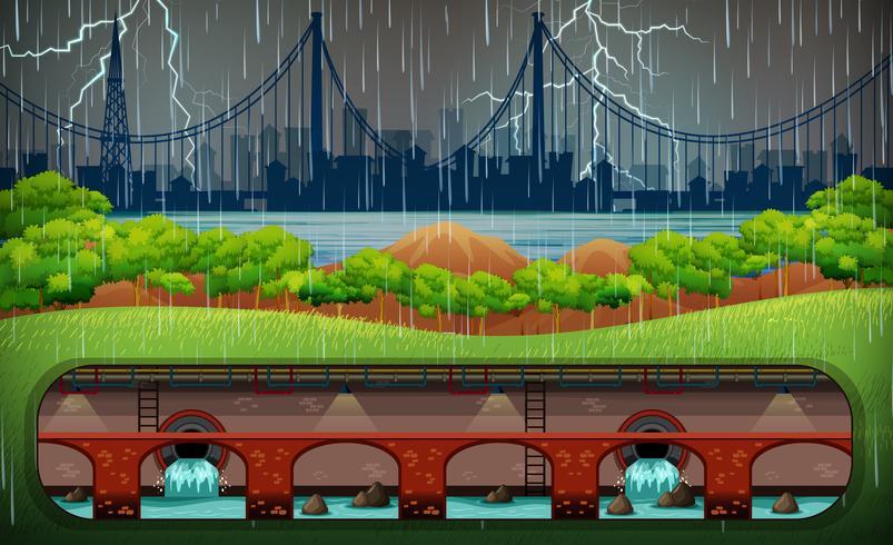 Gewitter in der Stadt von Park View vektor