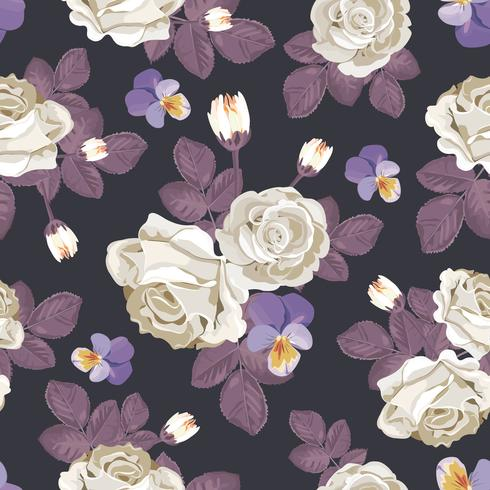 Retro blommigt sömlöst mönster. Vita rosor med violett löv, pansies på mörk bakgrund. Vektor illustration