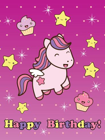 Grattis på födelsedagskort med söt leende tecknadshäst. vektor