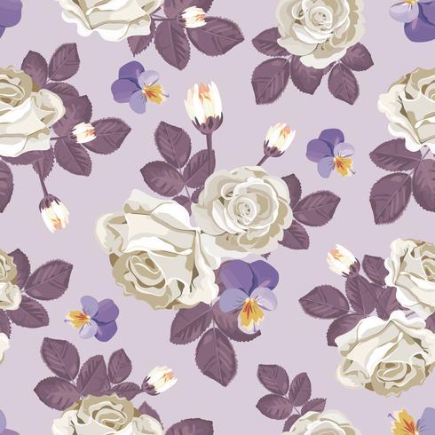 Retro blommigt sömlöst mönster. Vita rosor med violett löv, pansies på ljus lila bakgrund. Vektor illustration