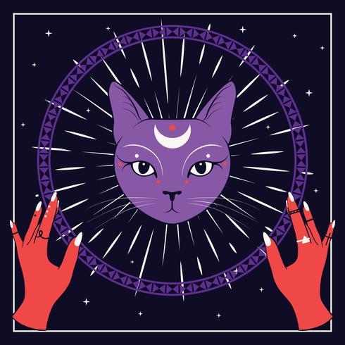 Violettes Katzengesicht mit Mond auf nächtlichem Himmel mit dekorativem rundem Rahmen. Rote hände Magie, okkulte Symbole. vektor