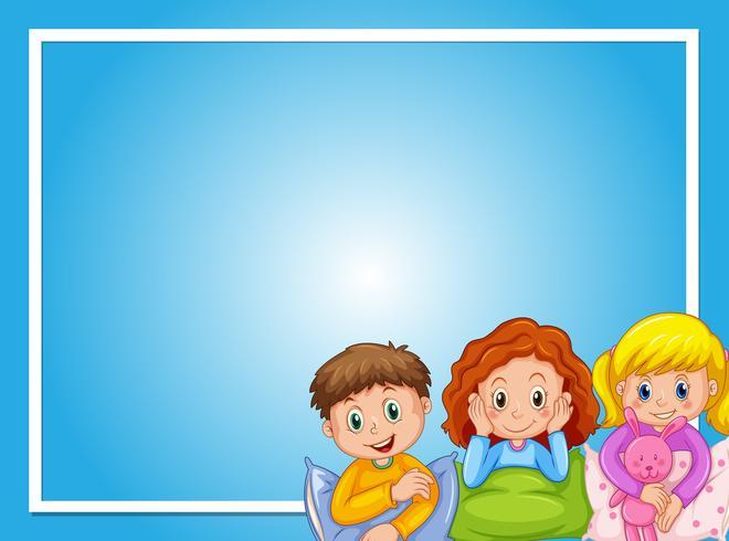 Ramdesign med barn i pyjamas vektor