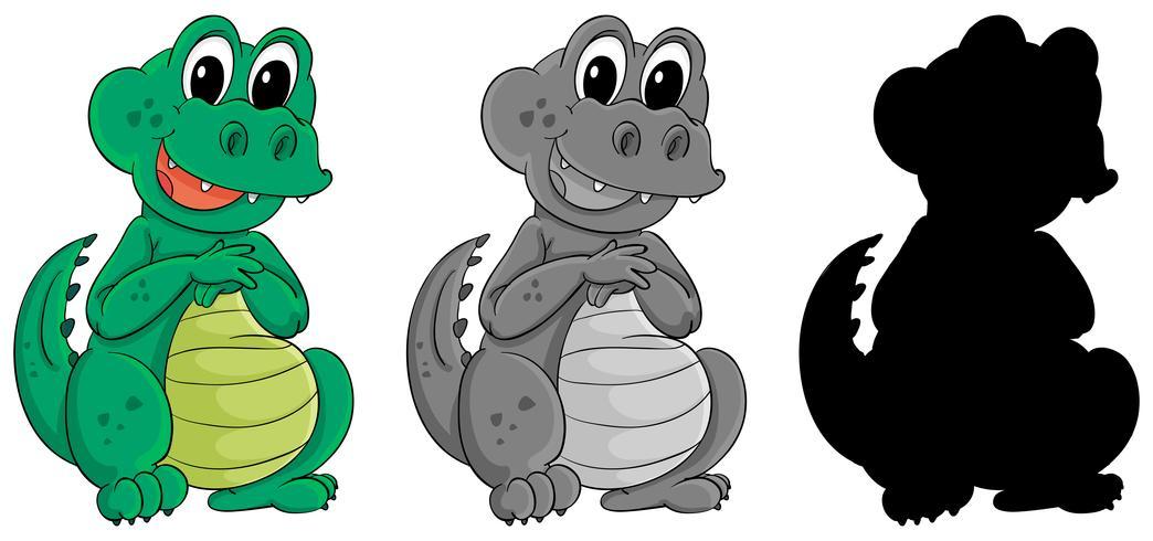 Set Krokodil-Zeichen vektor