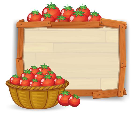 Tomate auf Holzbrett vektor
