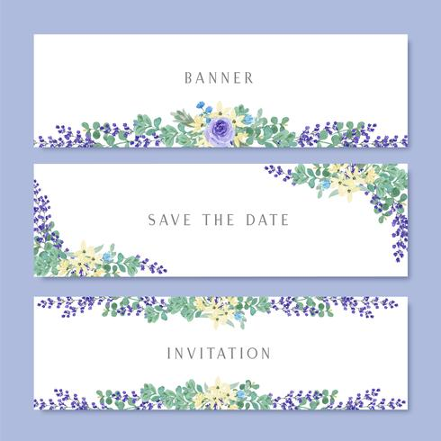 Akvarellblommor med text banner, frodiga blommor akvarell handmålade isolerad på vit bakgrund. Design gräns för kort, spara datum, bröllop inbjudningskort, affisch, banner design. vektor
