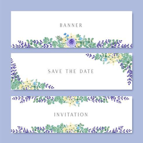 Aquarell blüht mit Textfahne, üppiges Blumenaquarellhandgemaltes lokalisiert auf weißem Hintergrund. Entwerfen Sie Grenze für Karte, sparen Sie das Datum, Hochzeitseinladungskarten, Plakat, Fahnendesign. vektor