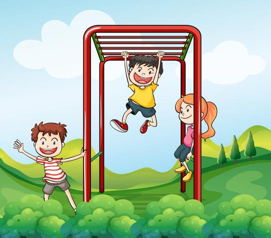 Drei Kinder, die am Park spielen vektor