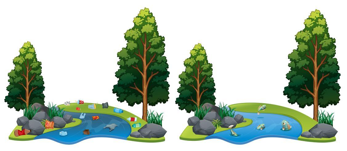 Vergleich zwischen schmutziger und sauberer Flussseite vektor
