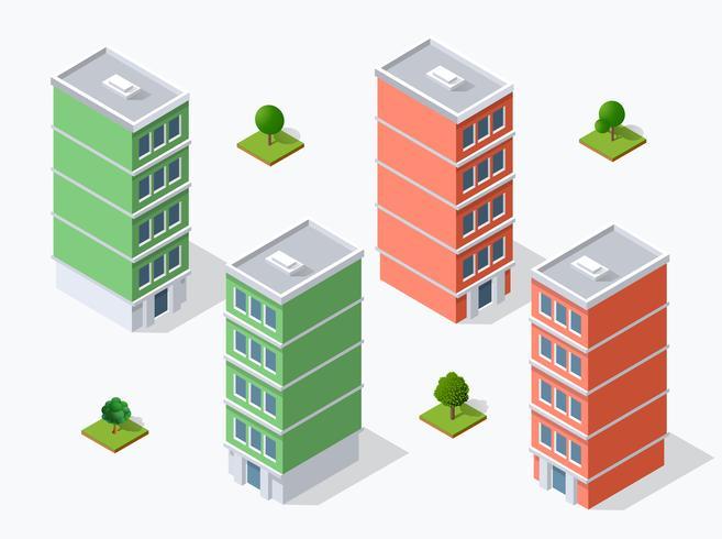 Bezirk der Stadtstraße Häuser isometrisch vektor